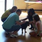 Children Petting dog